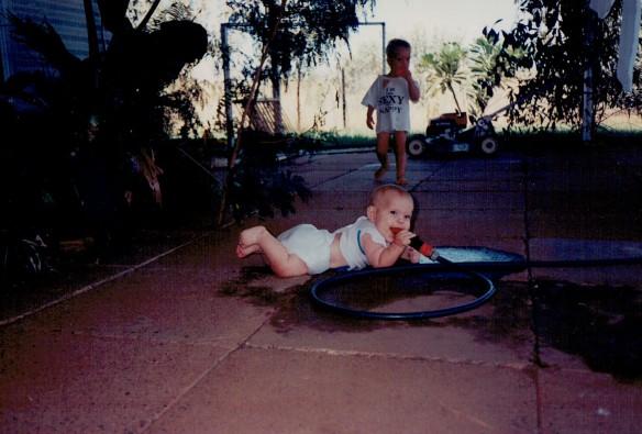 JL baby at hose